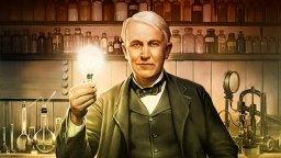 Amerikan keksijä Thomas Edison kuvaa, taustakuva